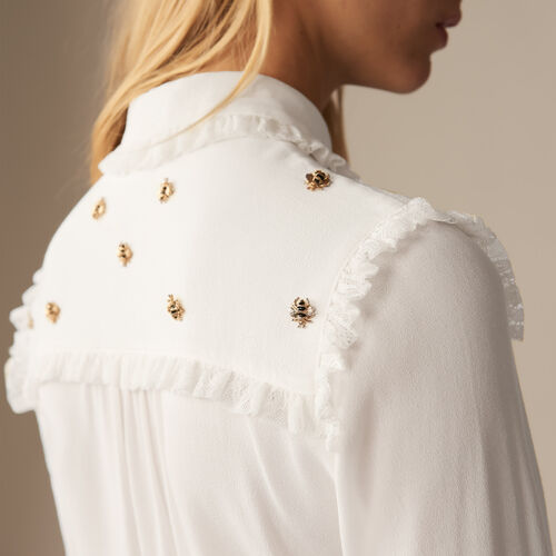 Shirt with embroidered bees : Pre-collection color White