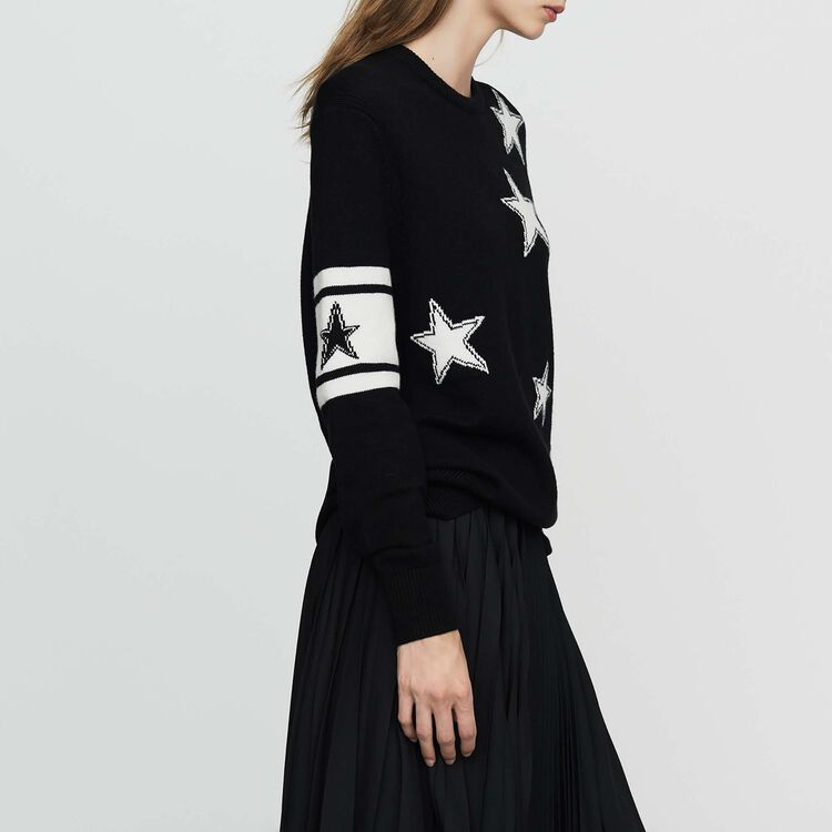 Oversize sweater in bicolor knit : Sweaters color Black 210