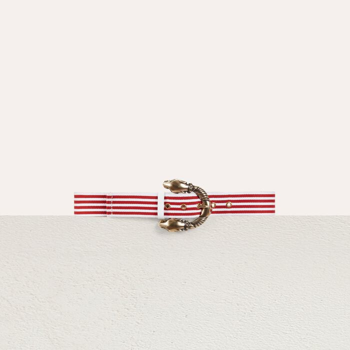 Striped cotton belt : Shoes & Accessories color Red