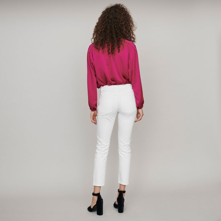 Straight-cut ripped jeans with pockets : Pants & Jeans color White