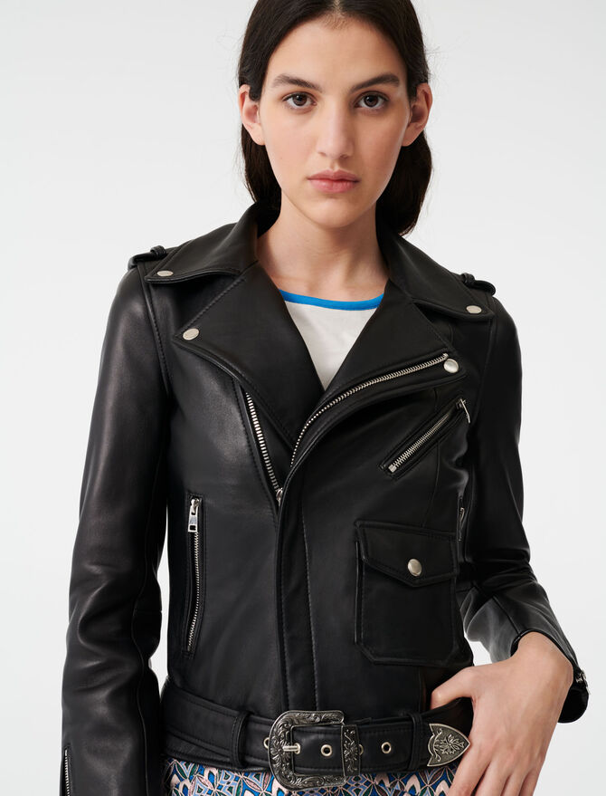Leather Western jacket with belt - Coats & Jackets - MAJE