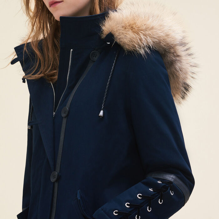 Cropped parka with laced detail : Coats & Jackets color Navy