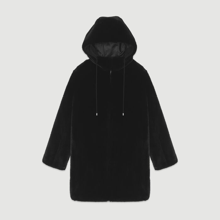 Hooded faux fur jacket : Coats & Jackets color