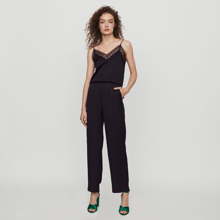 Satin jumpsuit : Fall Pre-Collection color Black