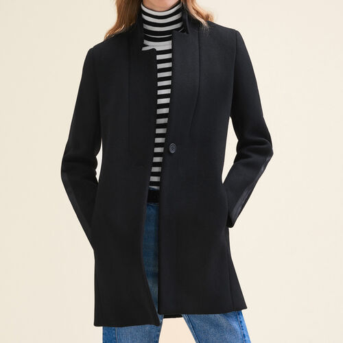 Straight-cut wool coat : Coats & Jackets color Black 210