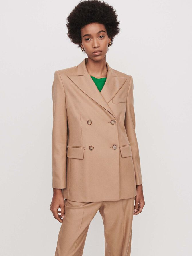 Staright-cut double breasted jacket - Coats & Jackets - MAJE