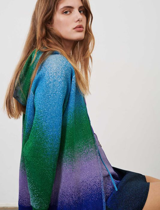 Lurex knit hooded cardigan : Green Edit color Blue/Green/Purple