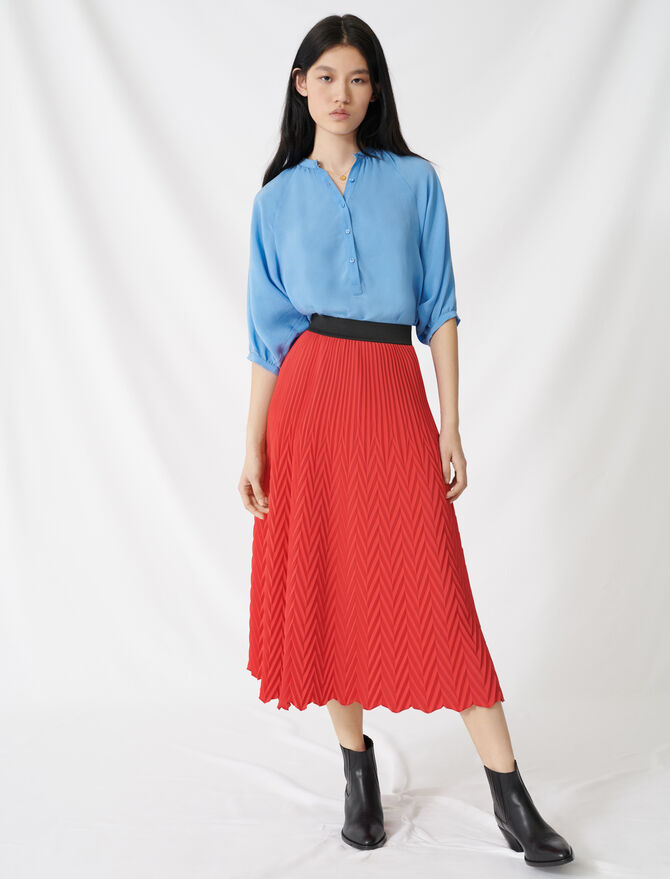 Long skirt with chevron pleat - Skirts & Shorts - MAJE