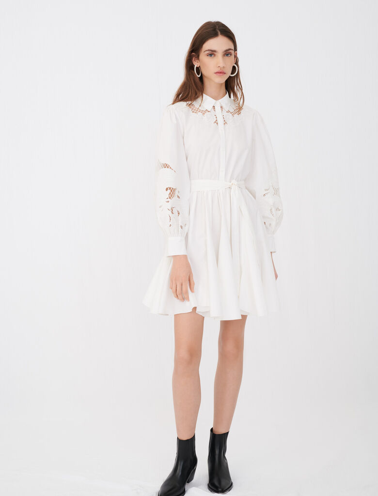 Cotton and guipure lace skater dress : Dresses color White