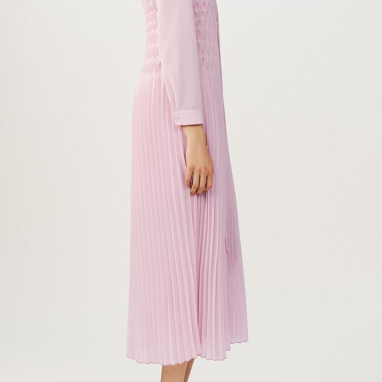 Long pleated dress : Dresses color PURPLE