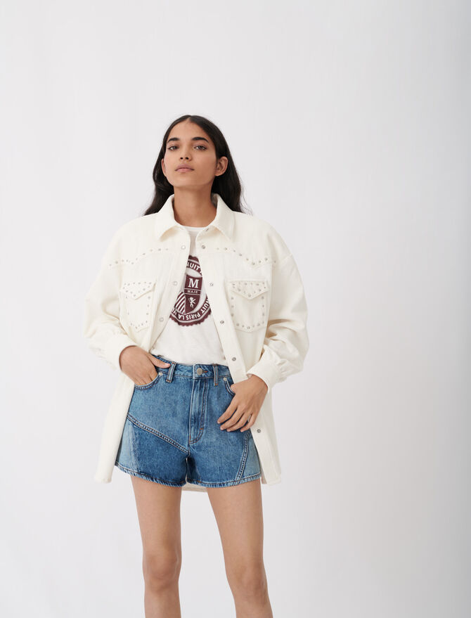 Corduroy overshirt with studs - Tops & T-Shirts - MAJE