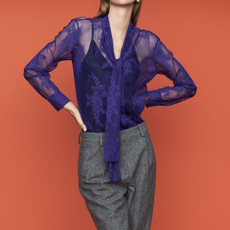 Lavalier shirt in lace : Tops & Shirts color Black 210
