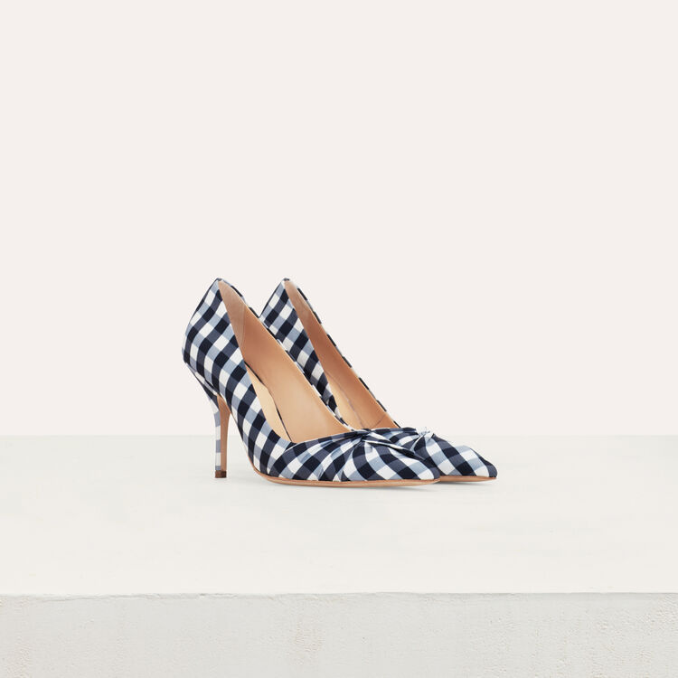 Heels draped in vichy blue : Shoes color Blue