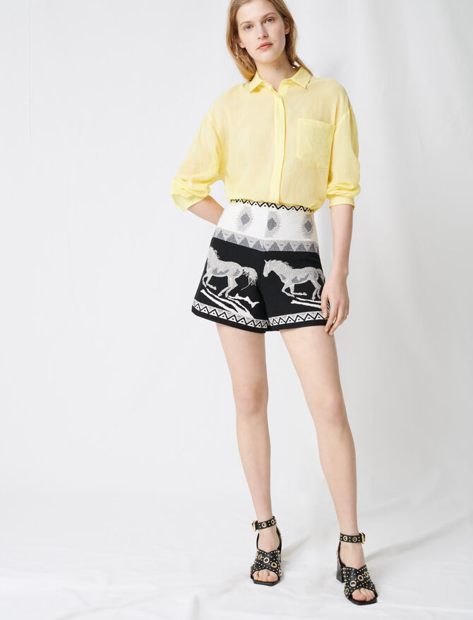 Jaquard shorts with embroidery - Skirts & Shorts - MAJE
