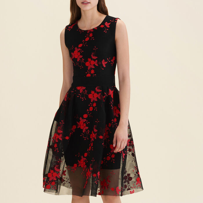 Tulle sleeveless embroidered dress  : See All color Black 210