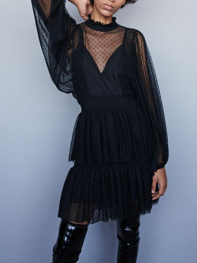 Plumetis tulle dress with ruffles - Dresses - MAJE