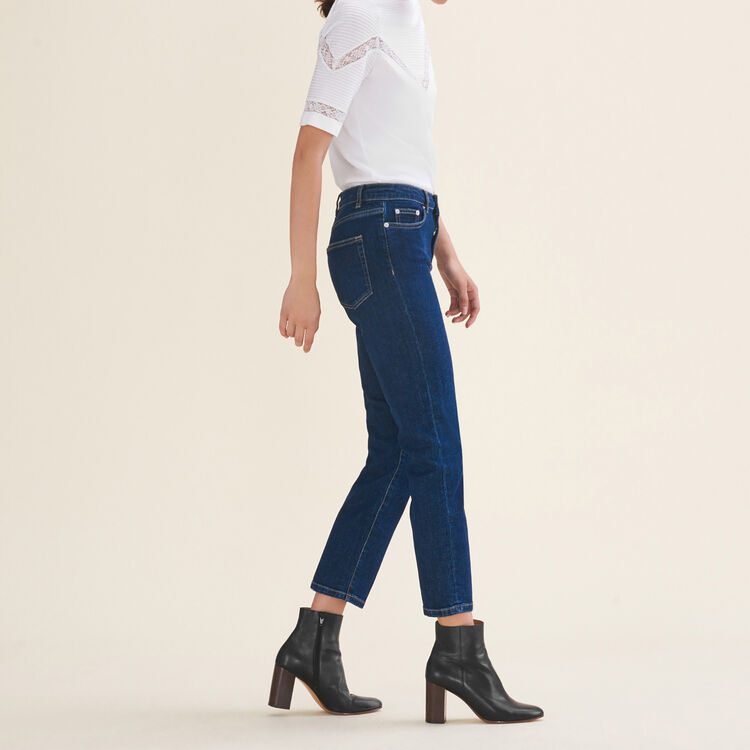 7/8-length stretch cotton jeans : null color