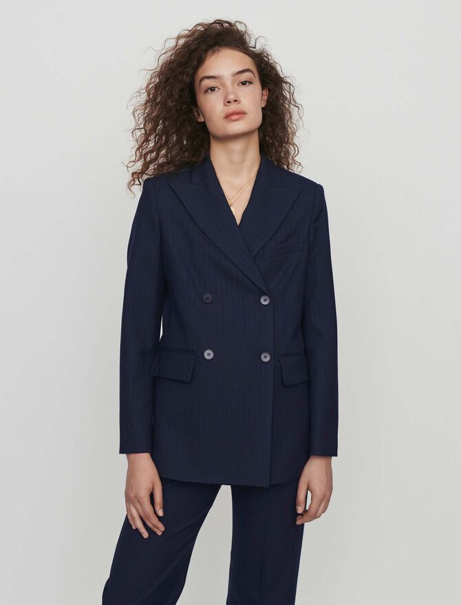 Racing-striped double breasted jacket - Coats & Jackets - MAJE