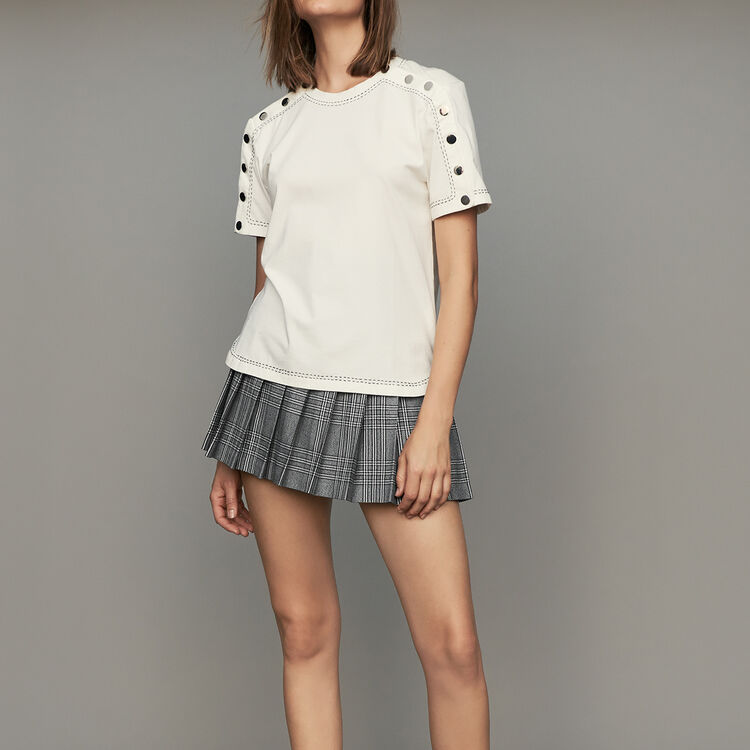 Cotton T-shirt with pressed buttons : Tops & T-Shirts color White