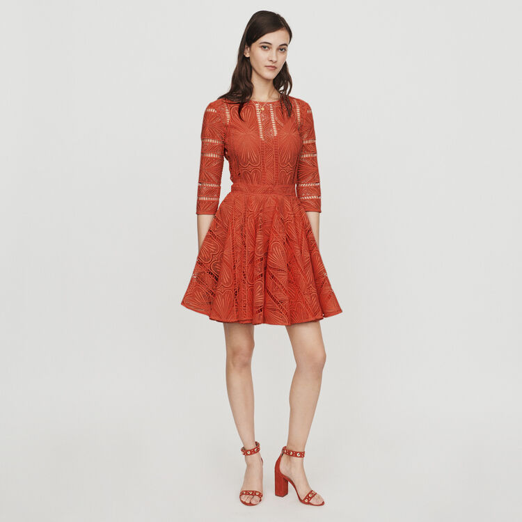 c60c54abb9185 Dresses true Short guipure lace dress : Dresses color Terracota