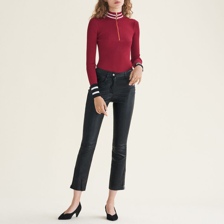 Leather trousers with zip details : null color