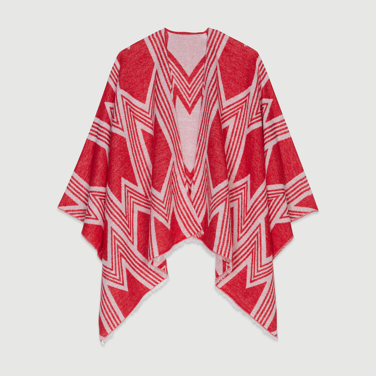Poncho with M art deco motif : Scarves & Ponchos color Red