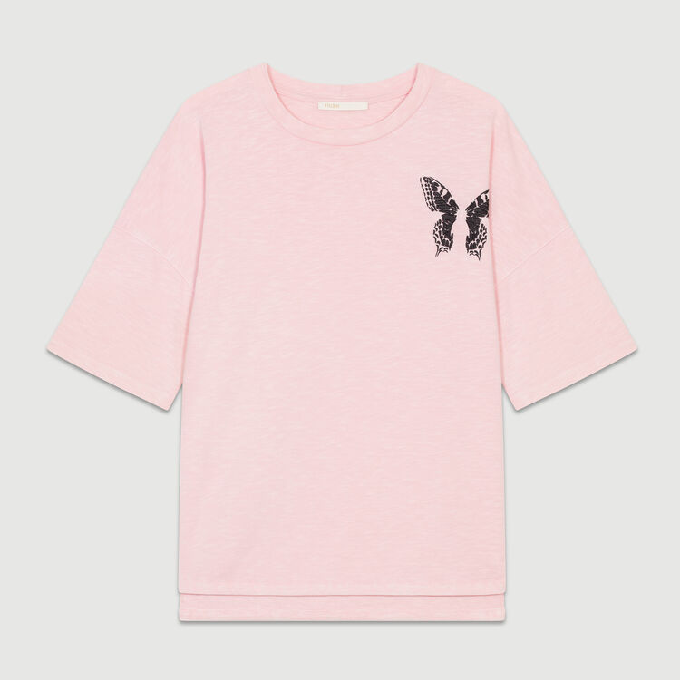Oversized embroidered t-shirt : Tops & T-Shirts color Pink