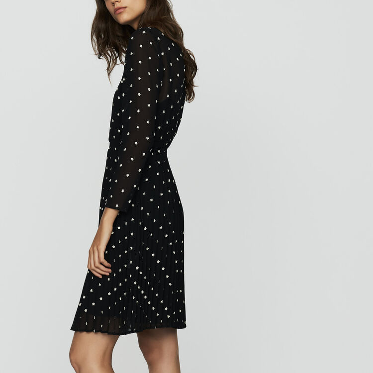 Embroidered pleated dress : Dresses color Black