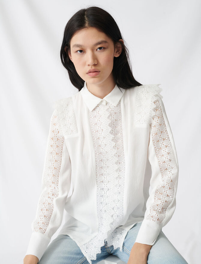 Shirt with lace - Tops & Shirts - MAJE