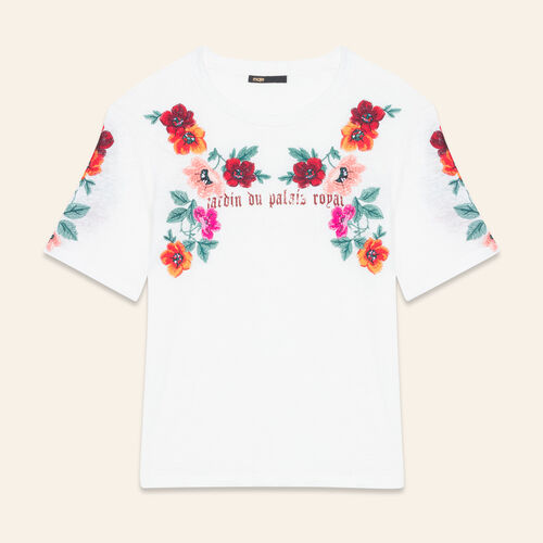Embroidered T-shirt : Tops & Shirts color Ecru