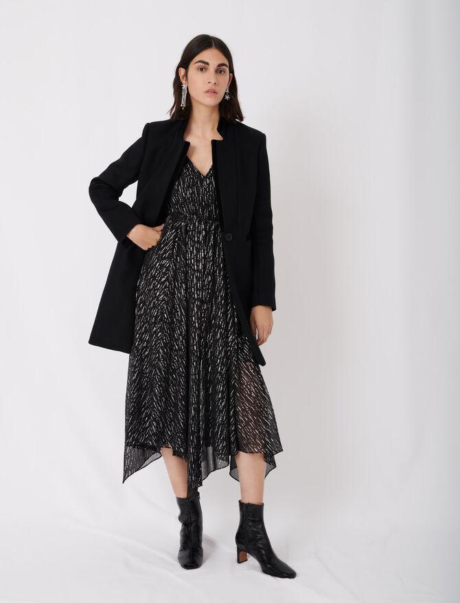 Wool and velvet coat - Coats & Jackets - MAJE