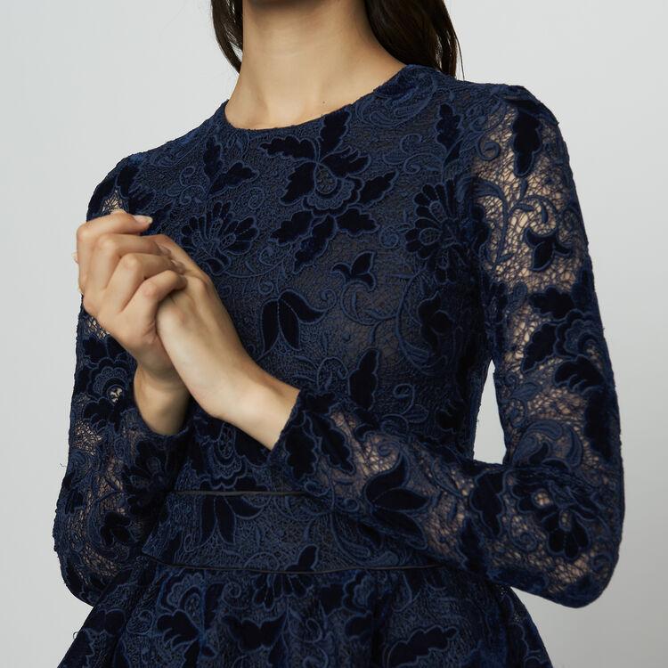 Long-sleeved skater dress in guipure : Dresses color Navy
