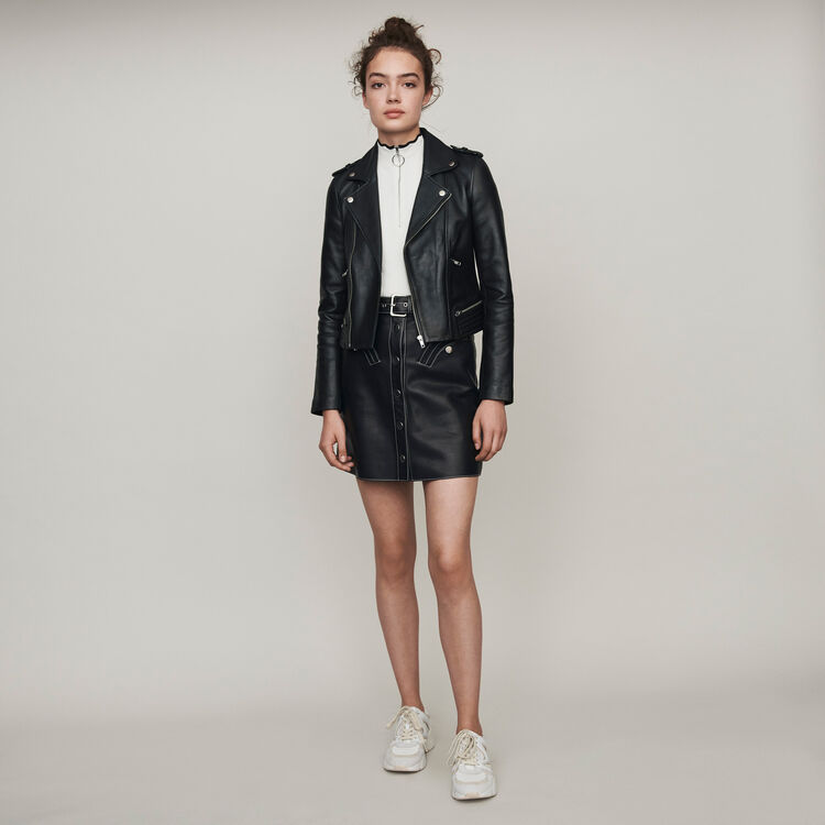 Lambskin leather jacket : Coats & Jackets color Black