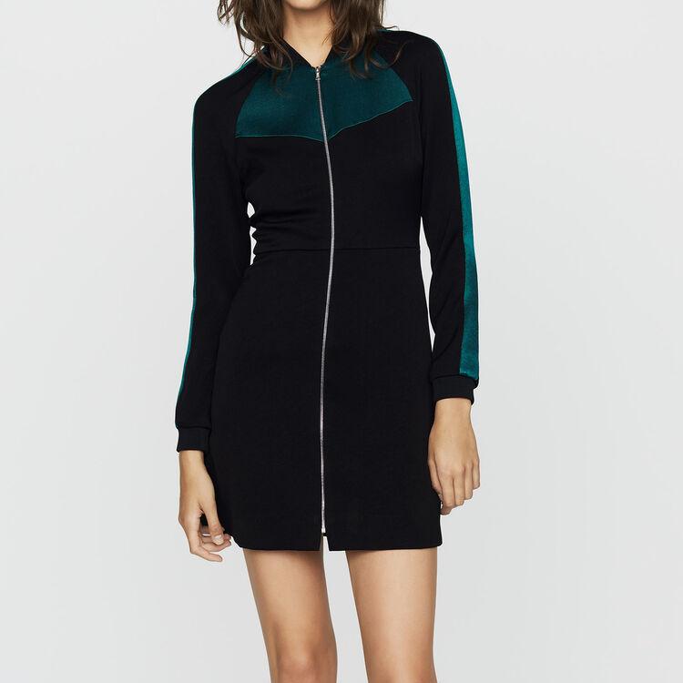 Bicolor bomber dress : Dresses color Black 210