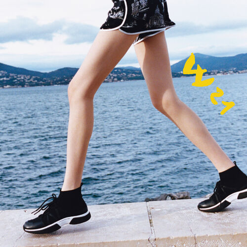 High-top sneakers in stretch fabric : Shoes color Black 210