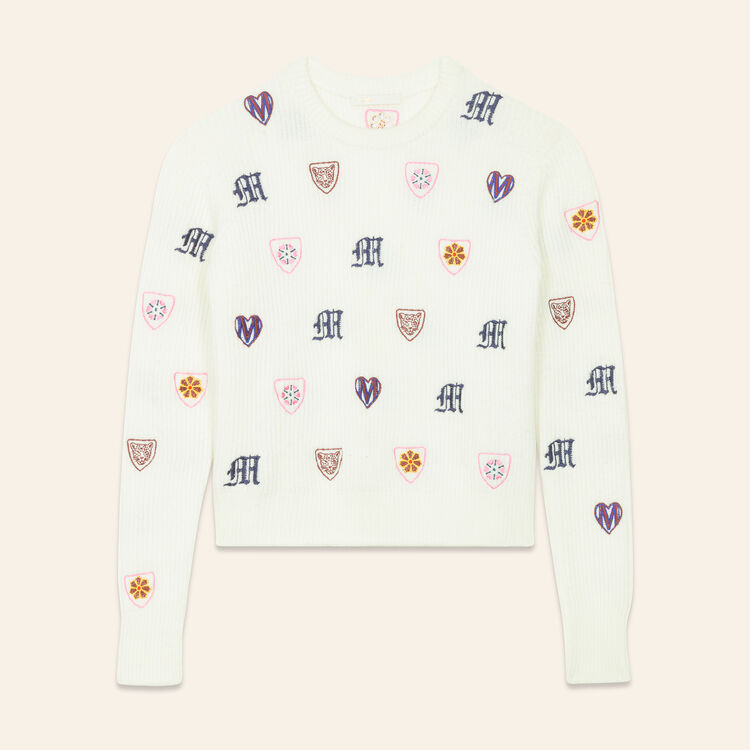 Embroidered knit jumper : Sweaters color Ecru