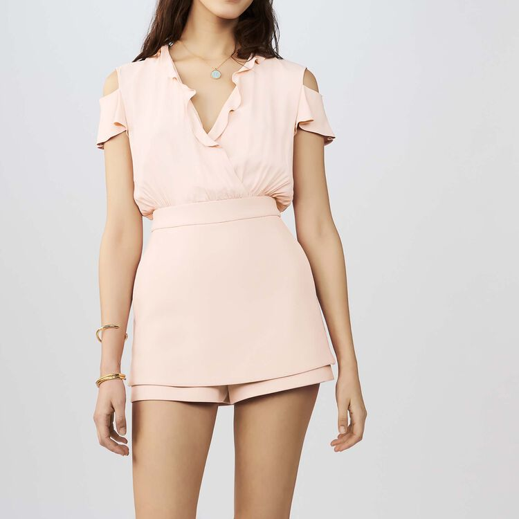 Crepe and silk romper : Jumpsuits color Pink