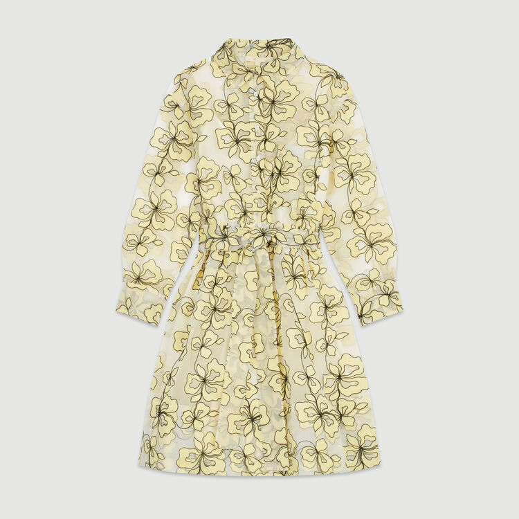Organza dress with flowers : Dresses color Yellow