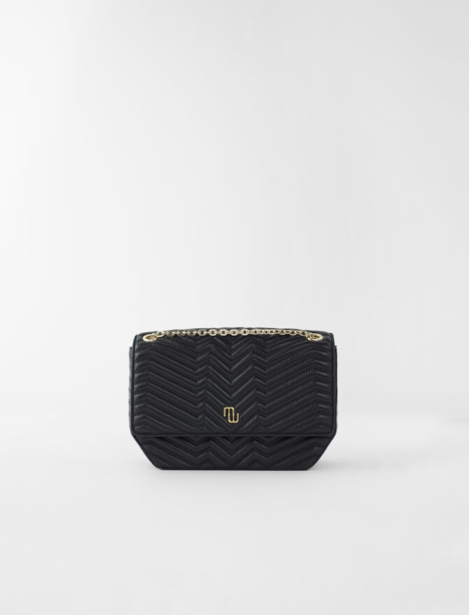 Quilted leather flap handbag - Medium Bags - MAJE
