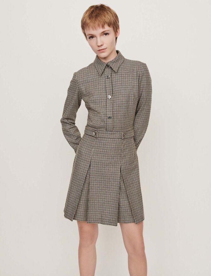 Prince of Wales-printed wool shirt dress - Dresses - MAJE