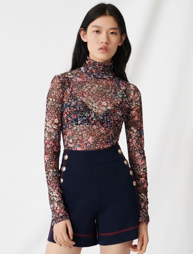Mesh top with floral motif -  - MAJE