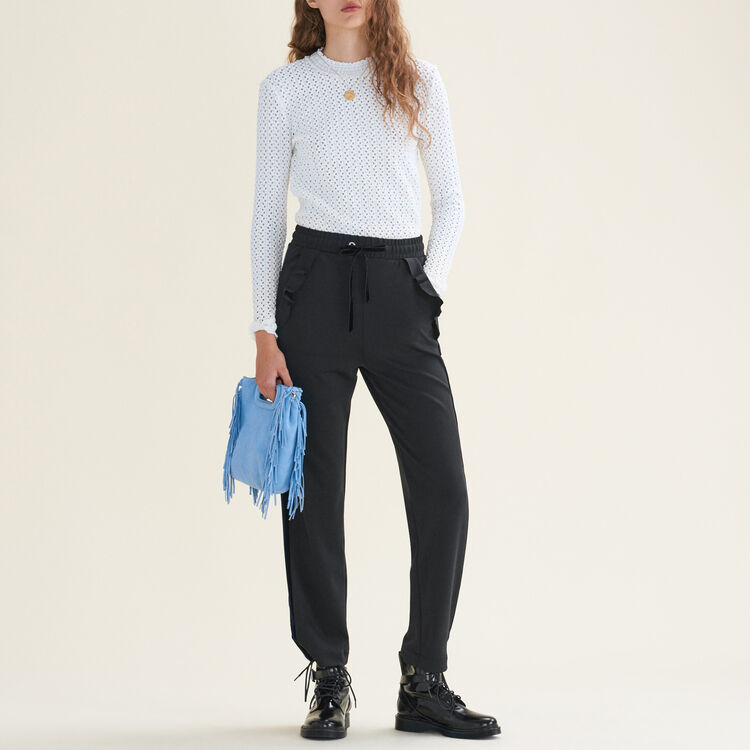 Straight-cut jogging-style trousers : null color