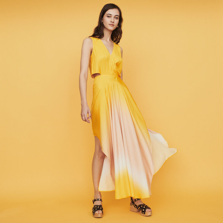 Long tie dye dress in satin : Dresses color Yellow