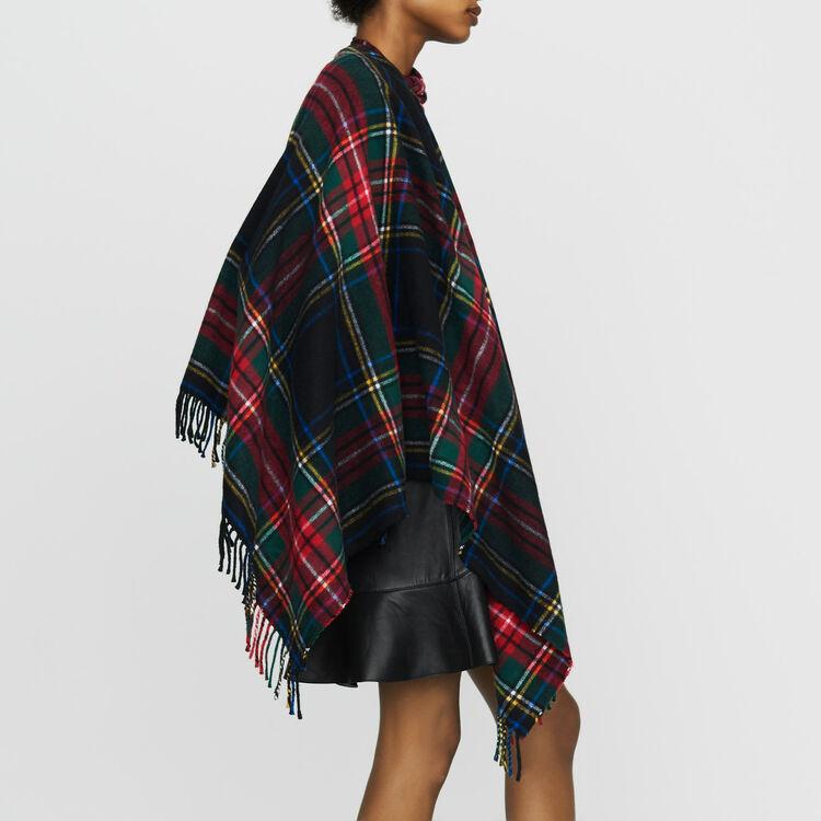 Tartan cashmere poncho : Scarves & Ponchos color Multico