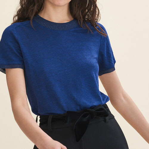 Linen T-shirt : Tops & T-Shirts color Navy