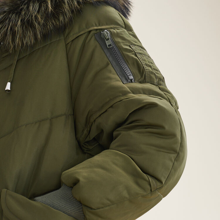 Long down jacket with fur : Coats & Jackets color Khaki
