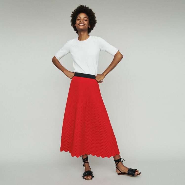 Long skirt with chevron pleat : Skirts & Shorts color ROUGE