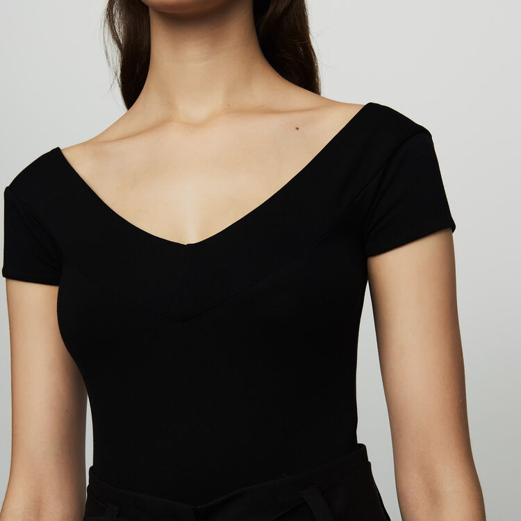 Short-sleeved bodysuit : Tops & T-Shirts color Black 210