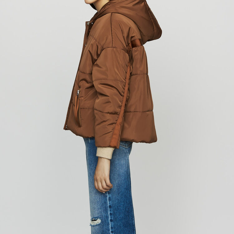 Cropped hooded down jacket : Coats & Jackets color Caramel