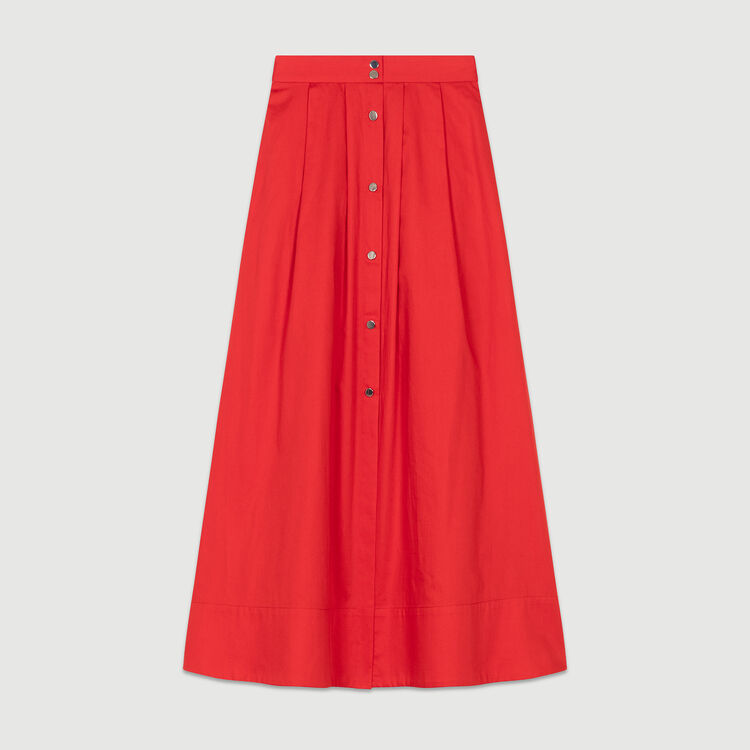 Long buttoned cotton dress : Skirts & Shorts color Red